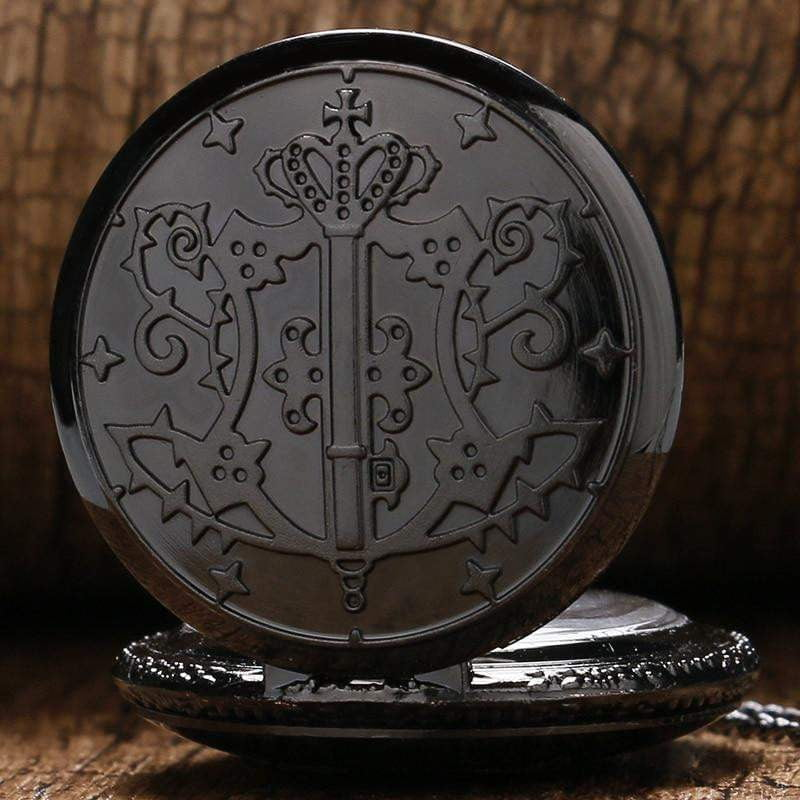 Black Butler Sebastian Theme Quartz Pendant Pocket Watch With Necklace Chain - TheAnimeSupply