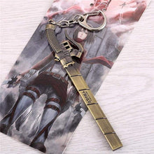 Load image into Gallery viewer, Anime Attack On Titan Keychain Metal Bronze Pendant Kyojin Key Chain - TheAnimeSupply
