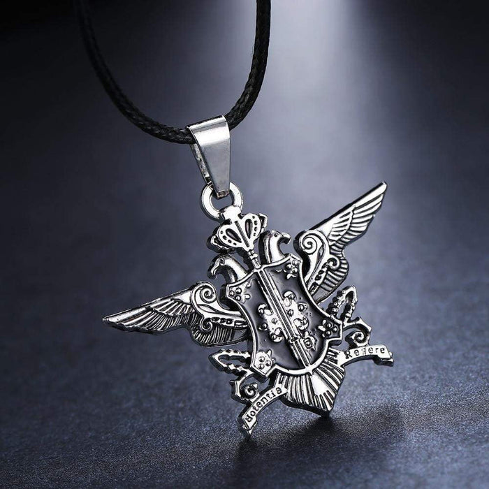 Black Butler Silver Metal Necklace Sebastian Logo Pendant - TheAnimeSupply