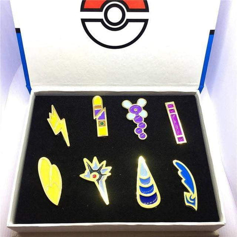 8pcs/set Pokemon Badges Kanto/Johto/Hoenn/Sinnoh/Unova/Kalos League Region Brooches with Box - TheAnimeSupply