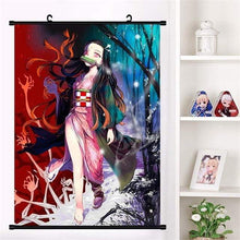 Load image into Gallery viewer, Anime Demon Slayer: Kimetsu no Yaiba Kamado Tanjirou Kamado Nezuko Wall Scroll Poster - TheAnimeSupply