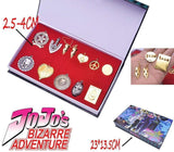 12pcs/set Anime JoJo's Bizarre Adventure Badge Pins Earring Necklace+Keychain+Box KeyRing Pendant Collection - TheAnimeSupply