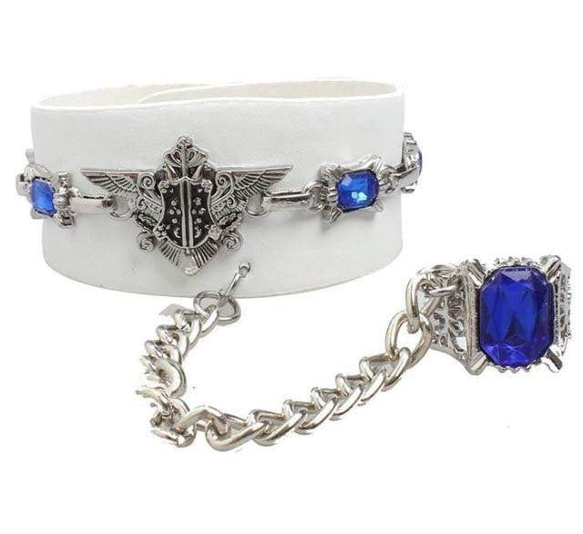 Anime Black Butler Leather Blue Crystal Bracelet - TheAnimeSupply