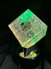 Load image into Gallery viewer, Hellraiser Puzzle Box Laser Engraved Clear Box with Rotating Light Stand