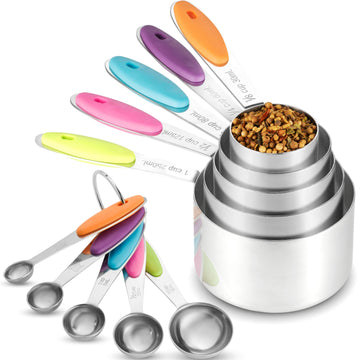 Stainless Steel Measuring Cups and Spoons Set, 10 Pieces