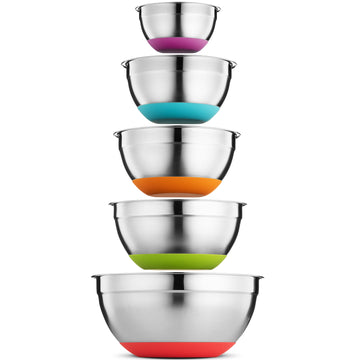 Stainless Steel Mixing Bowls Set of 5, Non Slip Colorful Silicone Bottom