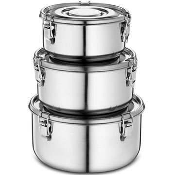 Stainless Steel Containers with Airtight Lids, Set of 3