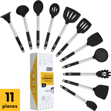 Silicone Cooking Utensil Set, 11 Pieces - Black