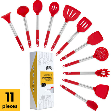 Silicone Cooking Utensil Set, 11 Pieces - Red
