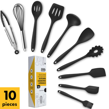 Silicone Solid Utensil Set, 10 Pieces - Black