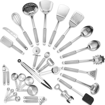 Deluxe Stainless Steel Kitchen Utensil Set, 29 Pieces