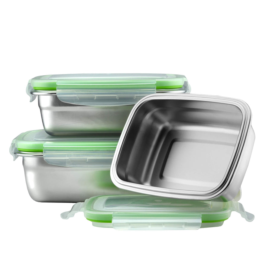 Stainless Steel Food Containers With Tight Lids - Set of 3