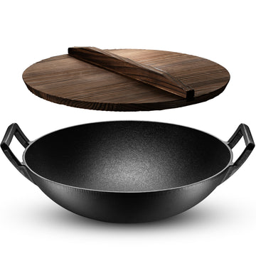 Pre-Seasoned Cast Iron Wok with Wooden Wok Lid, 14 Inch