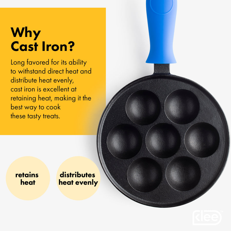 Pre-Seasoned Cast Iron Aebleskiver Pan for Danish Stuffed Pancake Balls, Includes 4 Silicone Handle Covers