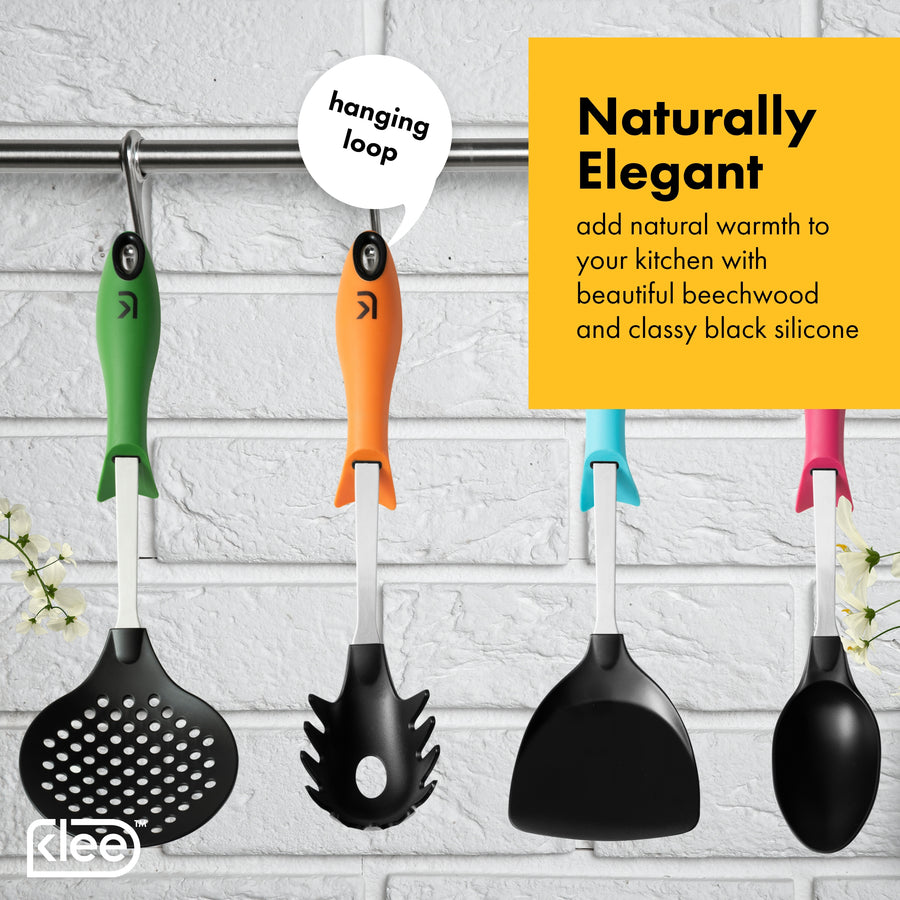 Colorful Nylon Kitchen Utensil Set with Stand, 6 Pieces
