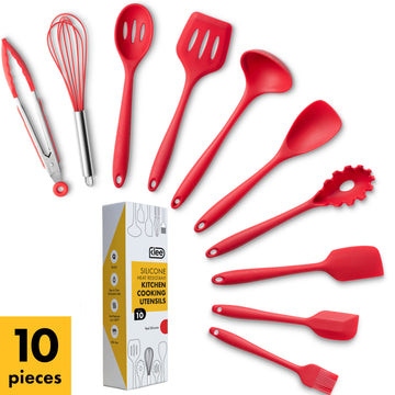 Silicone Solid Utensil Set, 10 Pieces - Red