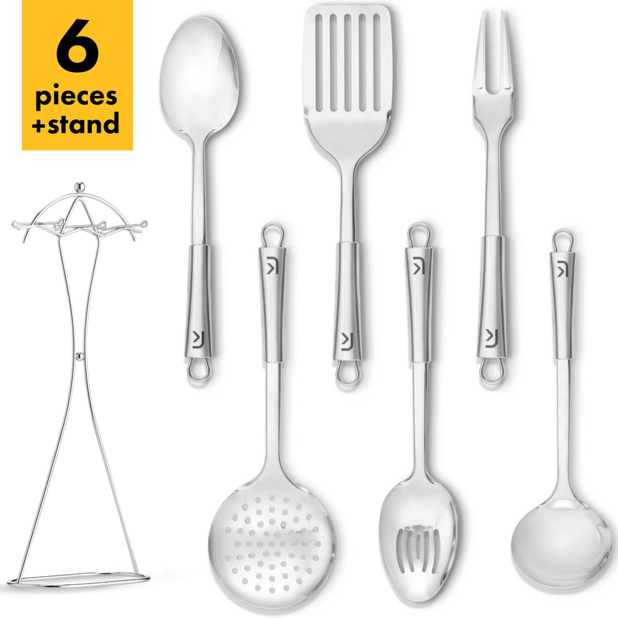 Stainless Steel Kitchen Utensil Set with Holder, 6 Pieces