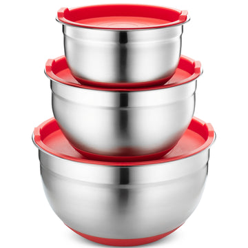 Stainless Steel Mixing Bowls with Lids, Silicone Bottom, Set of 3, Red