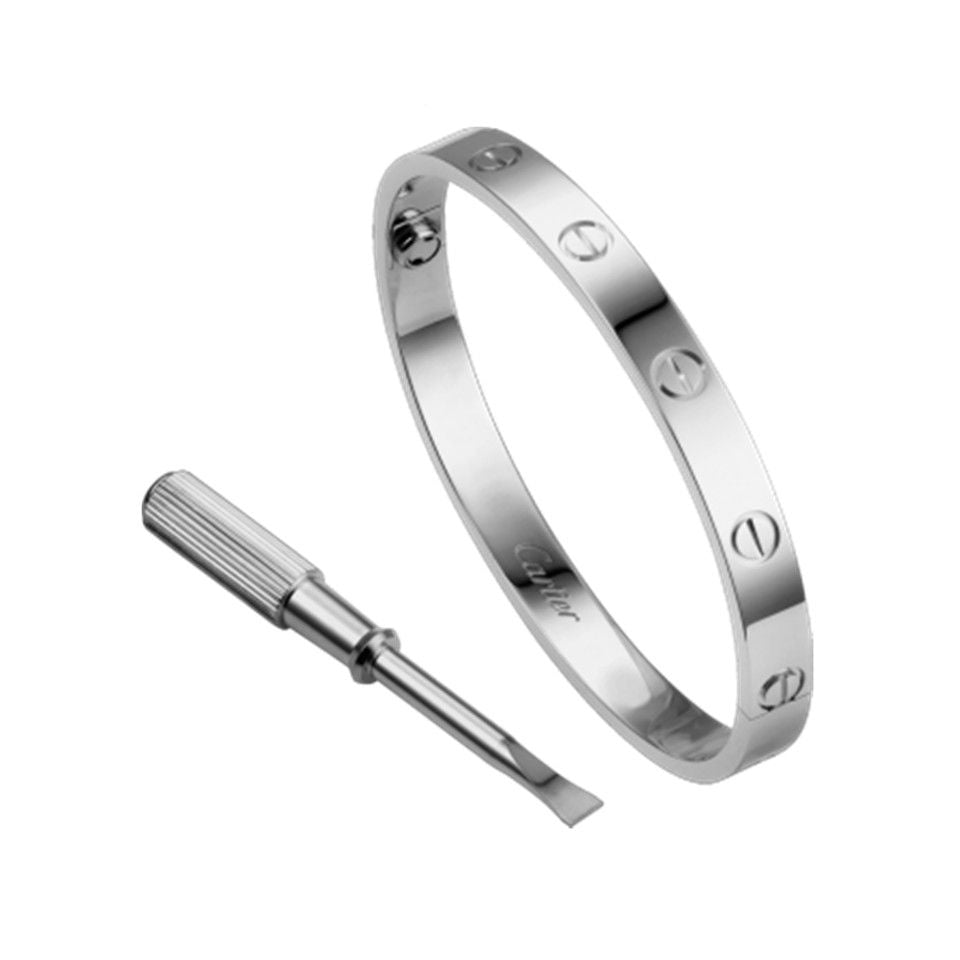 LᎾVE BANGLE WHITE  GOLD PLATED
