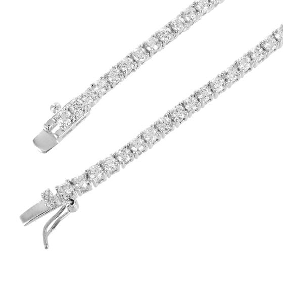 2.8MM PREMIUM ROUND CUT TENNIS CHAIN+BRACELETS WHITE GOLD