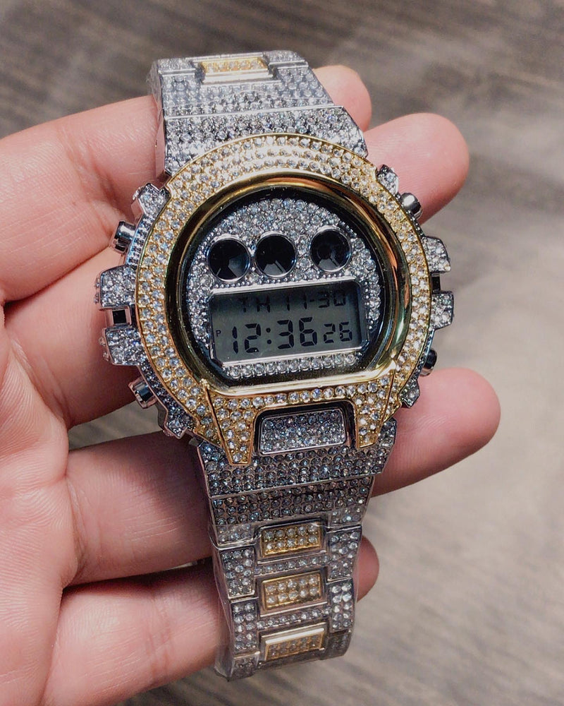 ROYAL LED WATCH IN 2-TONE GOLD WITH CZ DIAMOND