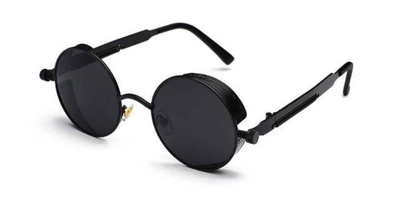 METAL ROUND STEAMPUNK SUNGLASSES ( BLACK/BLACK LENS)