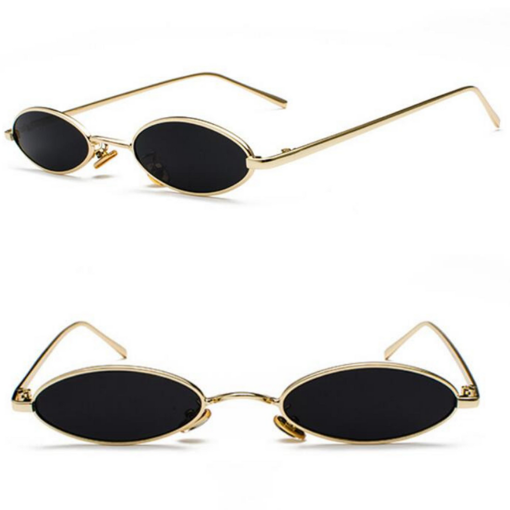 OVAL LENS METAL FRAME SUNGLASSES (GOLD/BLACK LENS)