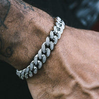 12MM CUBAN BRACELETS VVS DIAMOND SIMULATED WHITE GOLD