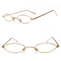 OVAL LENS METAL FRAME SUNGLASSES (GOLD/CLEAR LENS)
