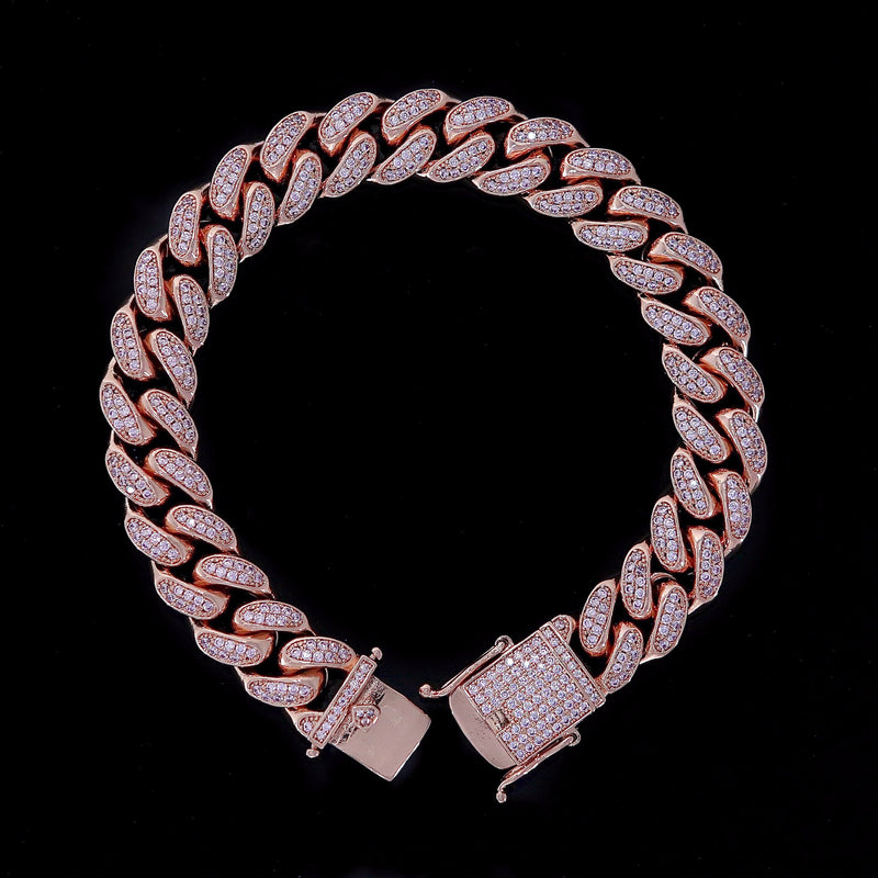 12MM CUBAN BRACELETS VVS DIAMOND SIMULATED ROSE GOLD
