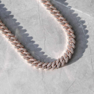 12MM DIAMOND PRONG CUBAN CHAIN 18K ROSE GOLD