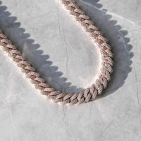 12MM DIAMOND PRONG CHAIN-ROSE GOLD