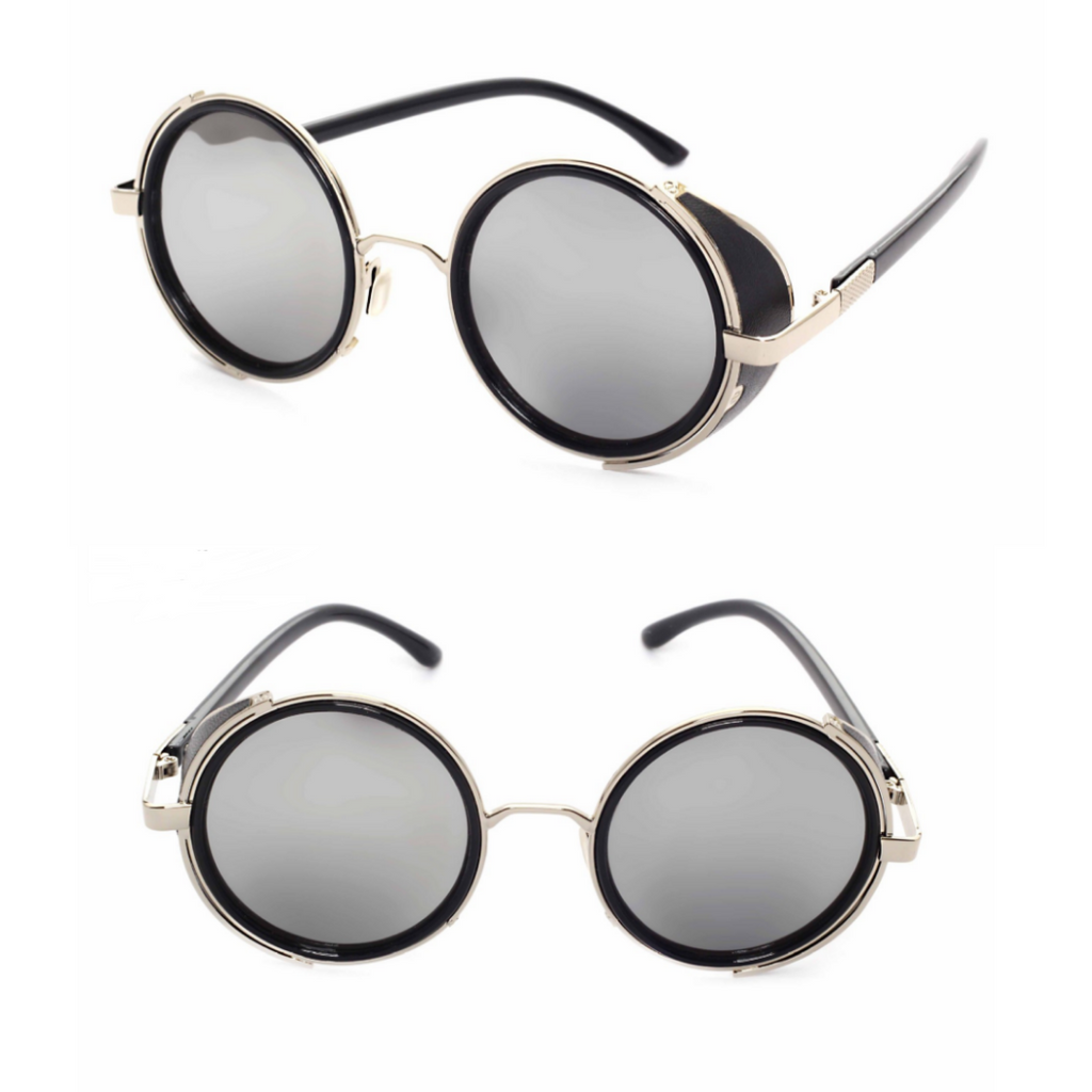 MIRROR LENS ROUND GLASSES CYBER STEAMPUNK SUNGLASSES (BLACK/SILVER LENS)