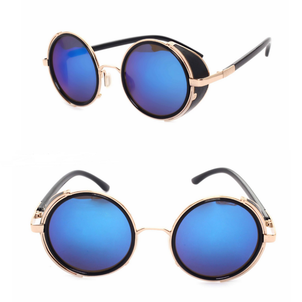 MIRROR LENS ROUND GLASSES CYBER STEAMPUNK SUNGLASSES (BLACK/BLUE LENS)