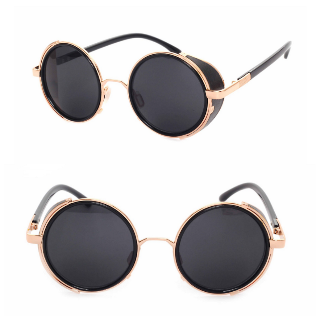 MIRROR LENS ROUND GLASSES CYBER STEAMPUNK SUNGLASSES (GOLD/BLACK LENS)