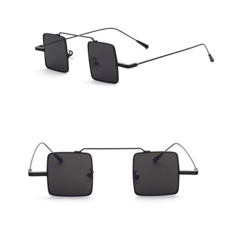 BLOCK LENS METAL SUNGLASSES (BLACK/BLACK LENS)