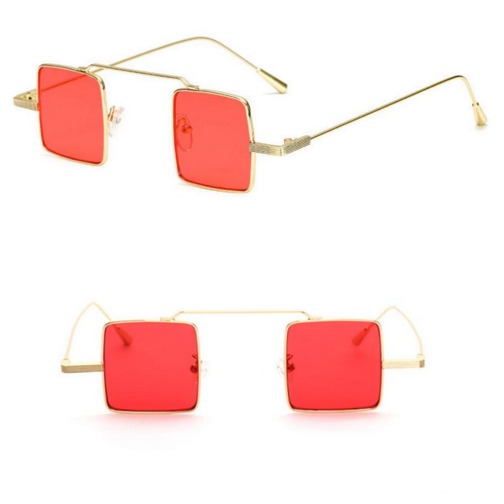 BLOCK LENS METAL SUNGLASSES (GOLD/RED LENS)