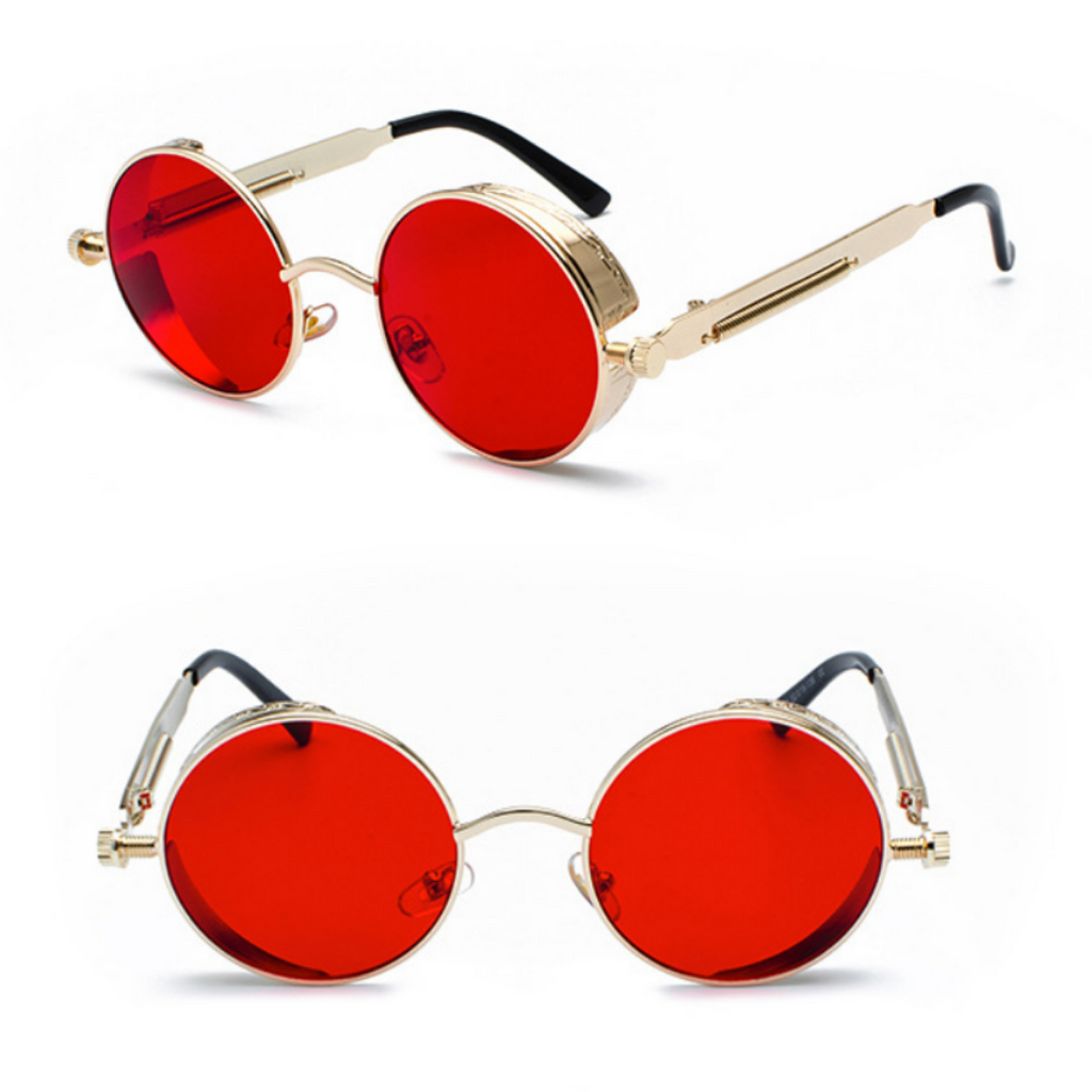 METAL ROUND STEAMPUNK SUNGLASSES ( GOLD/RED LENS)