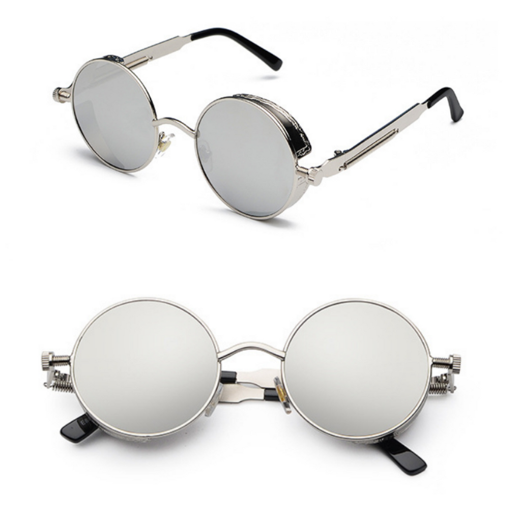 METAL ROUND STEAMPUNK SUNGLASSES ( SILVER/SILVER)