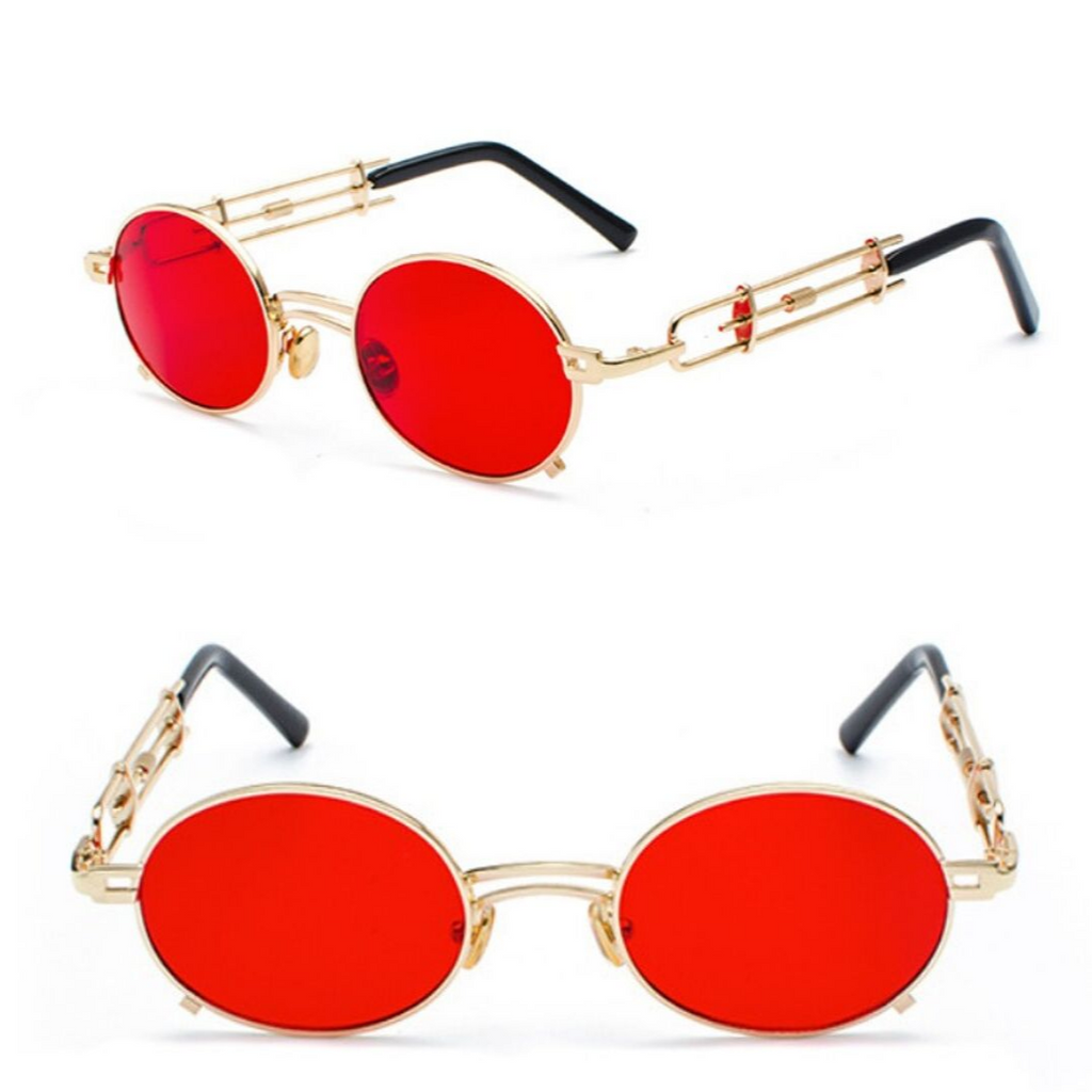 STRAP SUNGLASSES (GOLD-RED LENS)