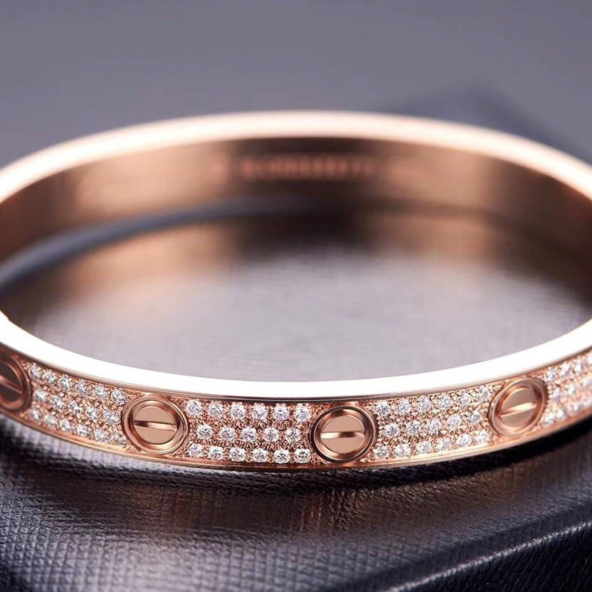 SOLID S925 SILVER LᎾVE BANGLE IN ROSE GOLD
