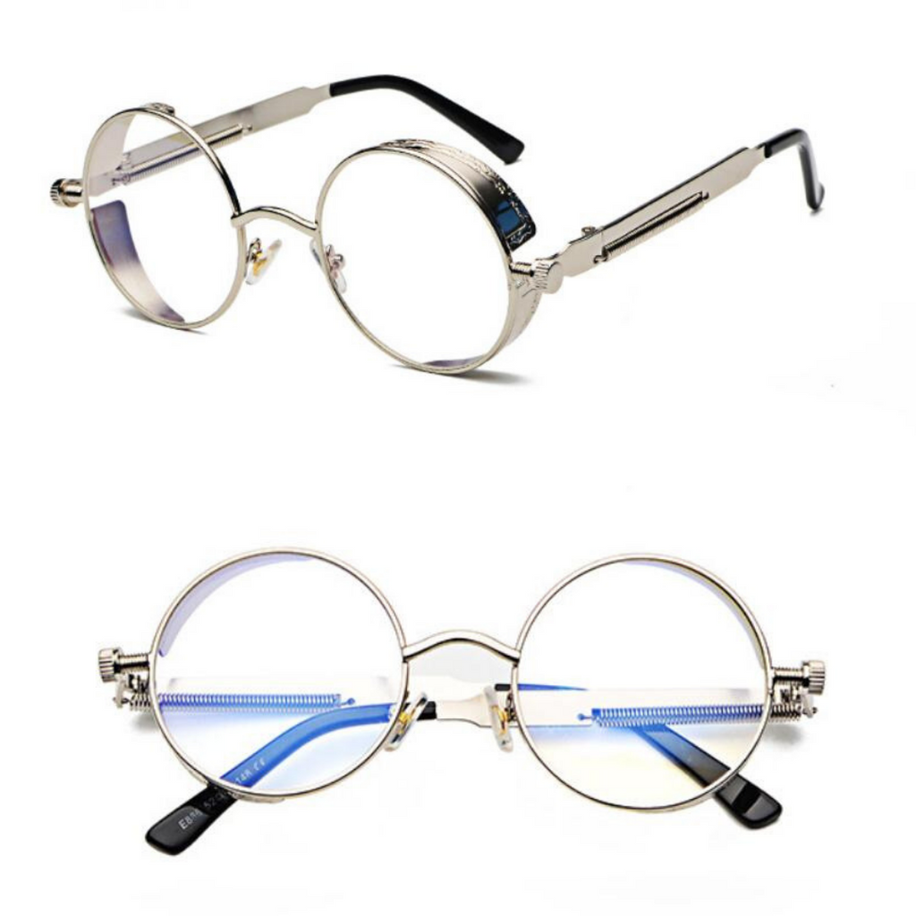 METAL ROUND STEAMPUNK SUNGLASSES ( SILVER/CLEAR LENS)