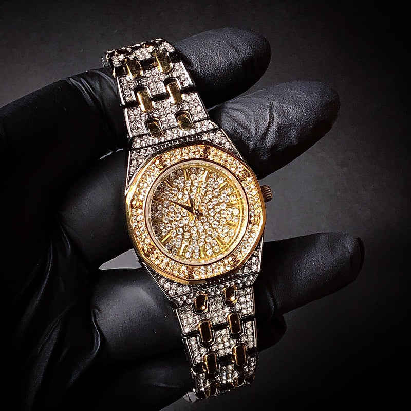 HEXAGON SHAPE DIAMOND SIMULATED 2-TONE WATCH