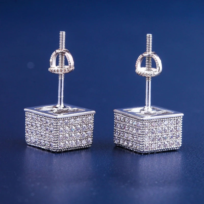 ICED CUBIC EARRINGS IN WHITE GOLD