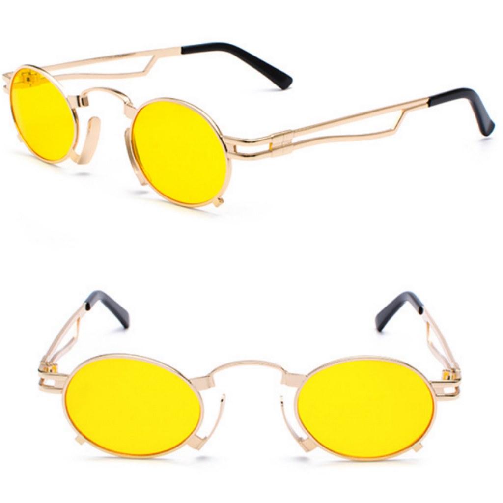 VINTAGE STEAMPUNK SUNGLASSES (GOLD-YELLOW LENS)