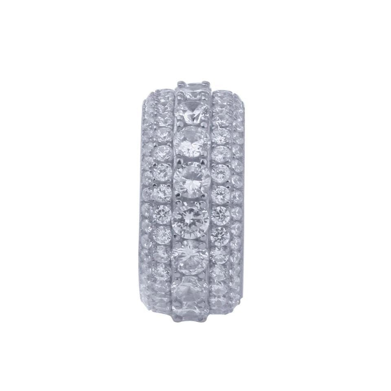 925.SOLID SILVER WITH 18K ROYAL ETERNITY RINGS (15.45grams)