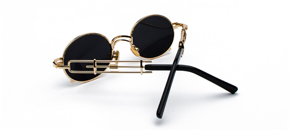 STRAP SUNGLASSES (GOLD-BLACK LENS)