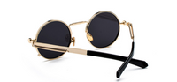 CAPPO METAL ROUND STEAMPUNK SUNGLASSES ( GOLD/BLACK LENS)