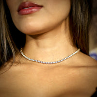 2.8MM PREMIUM CZ TENNIS CHOKER YELLOW GOLD