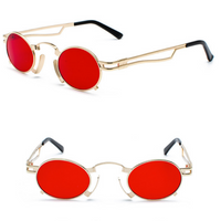 VINTAGE STEAMPUNK SUNGLASSES (GOLD-RED LENS)